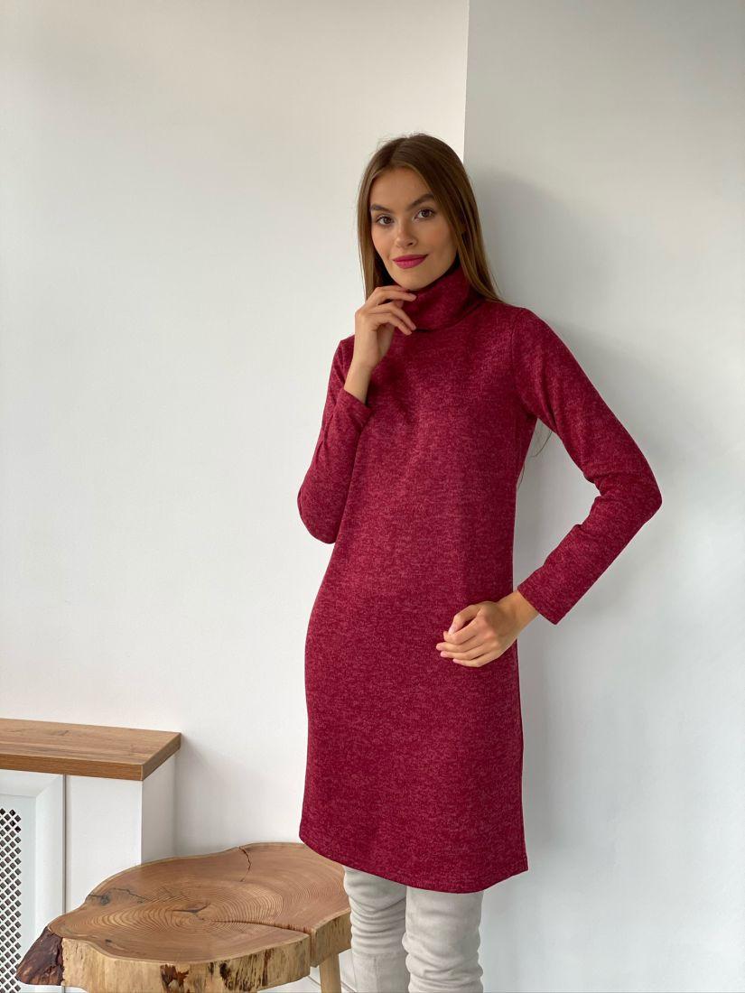 s2607 Платье из ангоры-меланж марсала