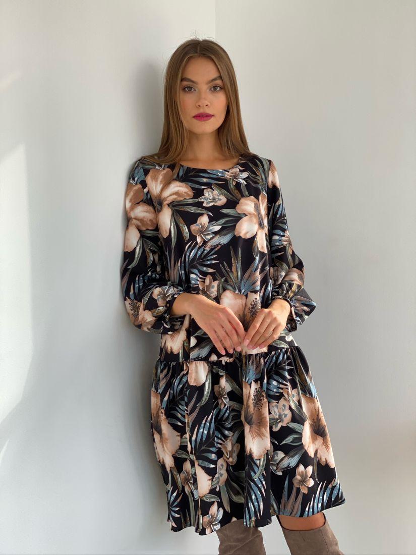 s2612 Платье свободного кроя чёрное с принтом