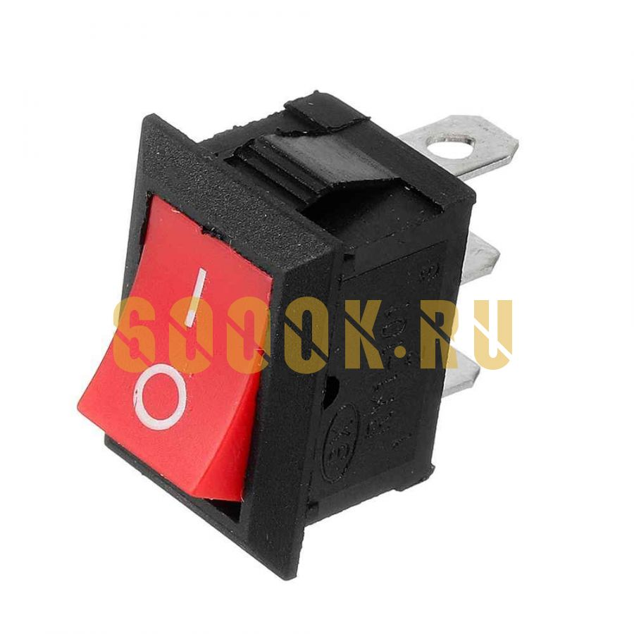 """Выключатель клавишный квадратный ON-OFF Mini без подсветки """"Red"""" (3-х контактный)"""