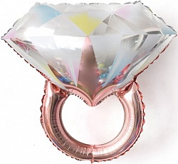 Шар (27''/69 см) Фигура, Кольцо с бриллиантом, Розовое Золото, 1 шт.
