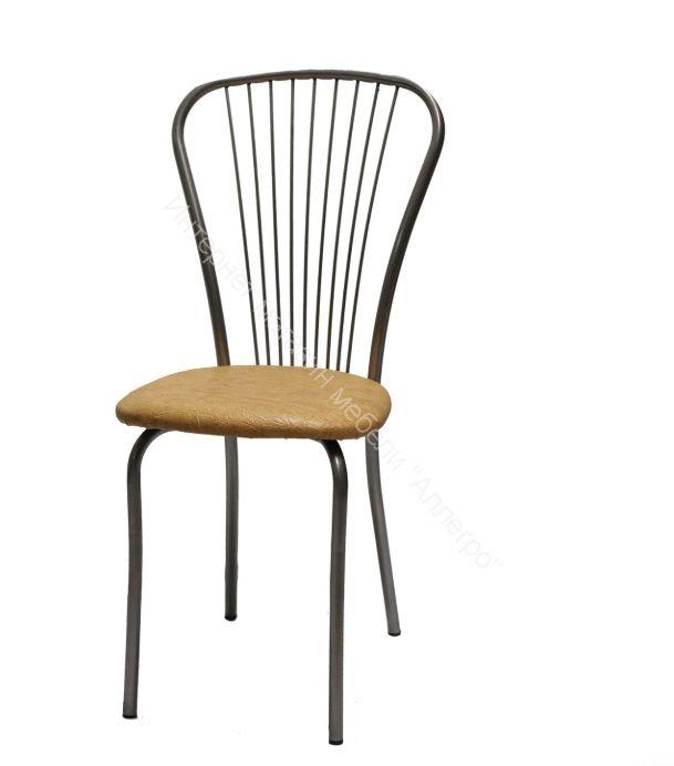 """Кухонный стул """"Лайт 1"""" серебристый металлик/бежевый"""