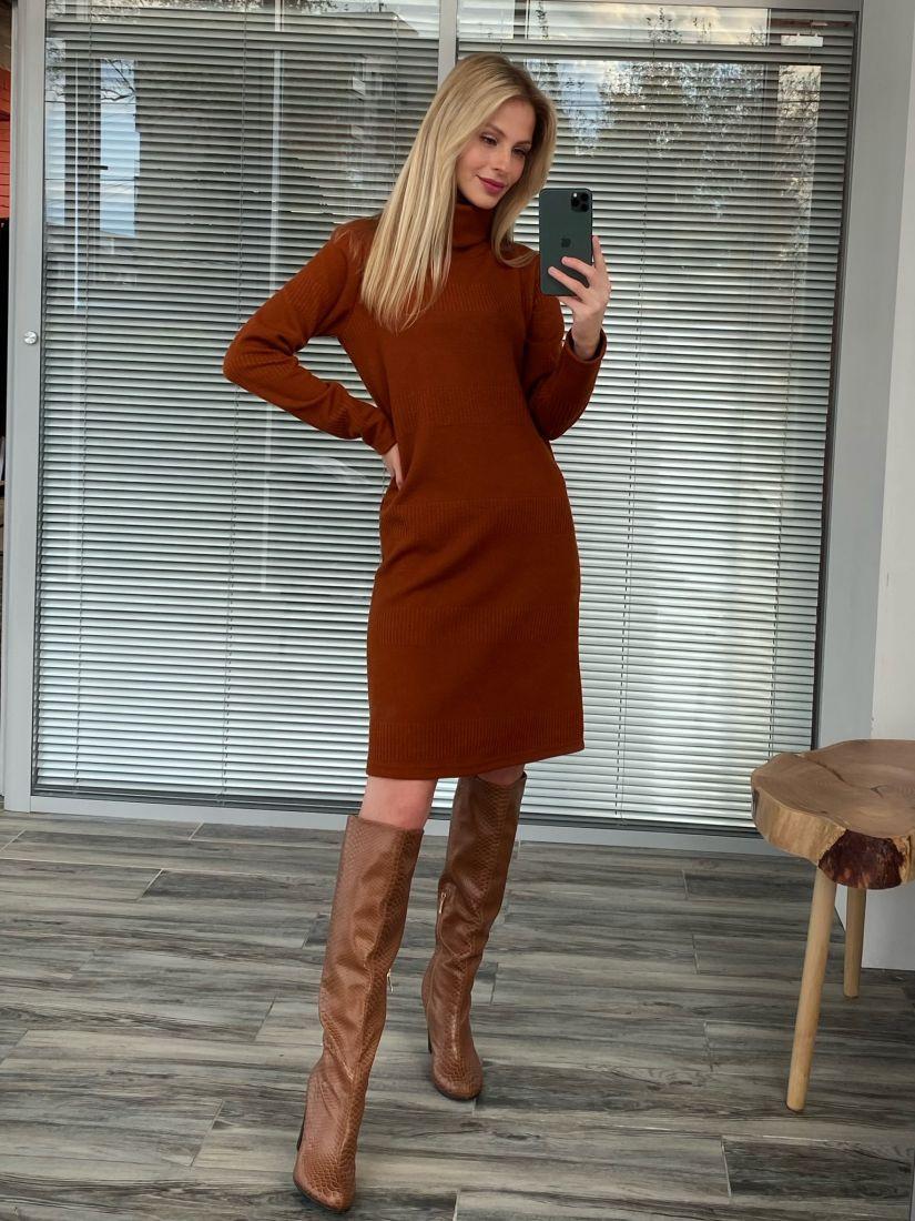 s2617 Платье-свитер из плотного трикотажа терракотовое
