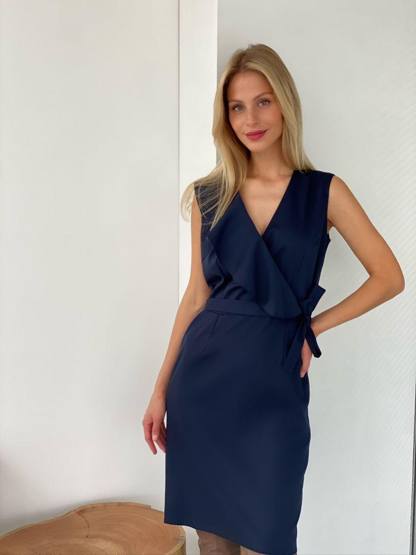 s2618 Платье с воланом тёмно-синее