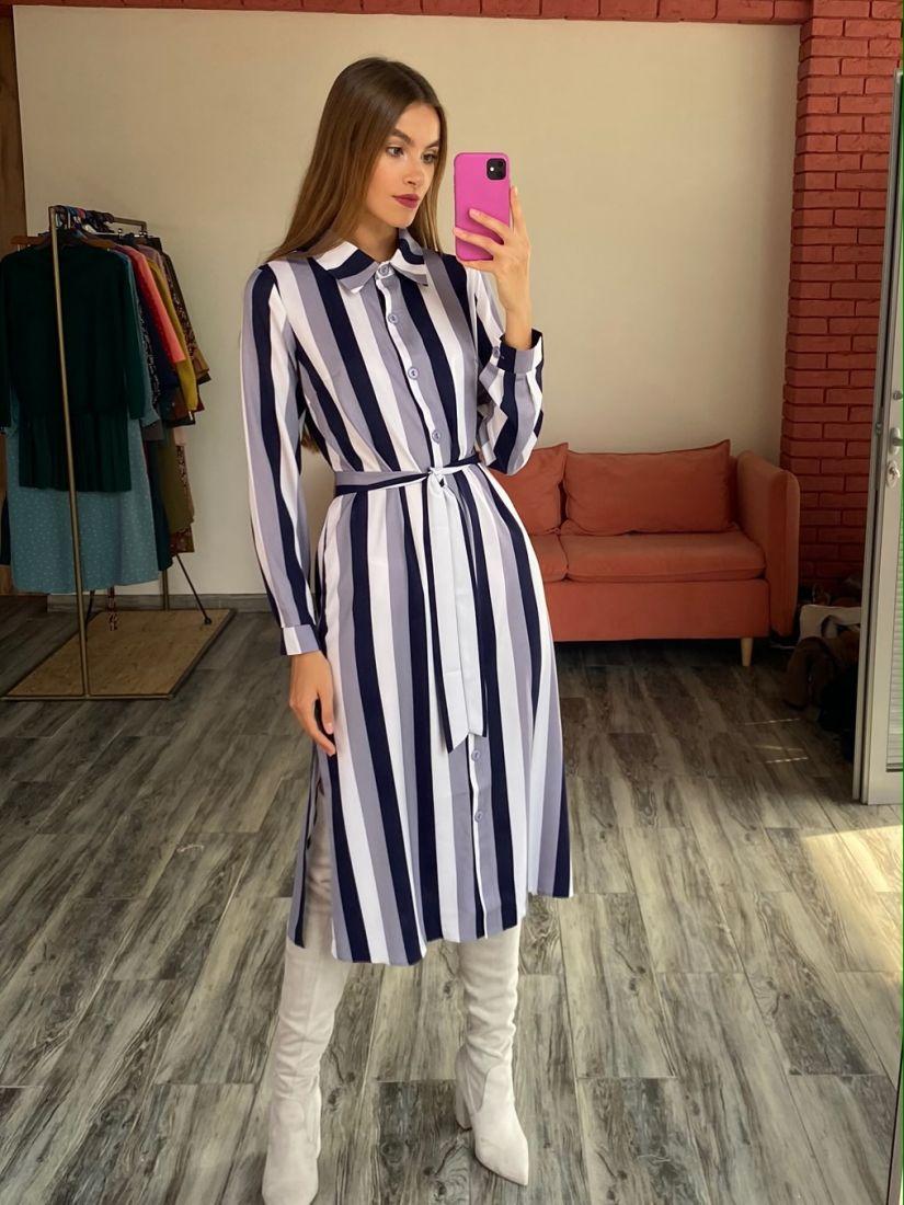 s2630 Платье-рубашка с итальянскую полоску