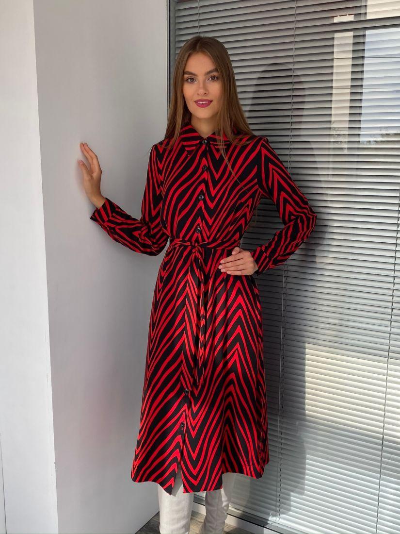 s2634 Платье-рубашка красно-чёрное
