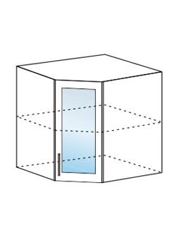 Шкаф верхний угловой со стеклом Юлия ШВУС 600