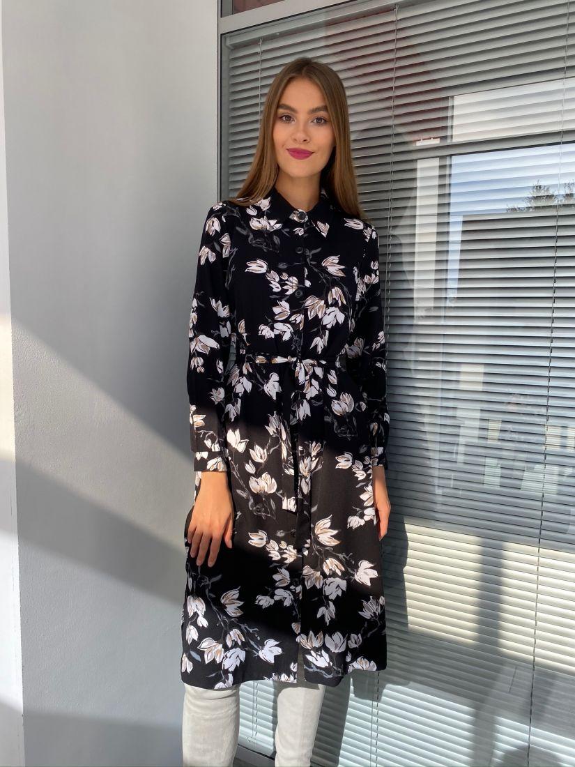 s2637 Платье-рубашка чёрное с цветами