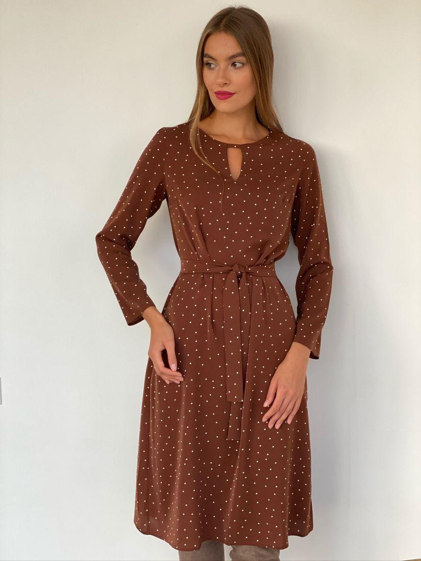 s2643 Платье с вырезом коричневое