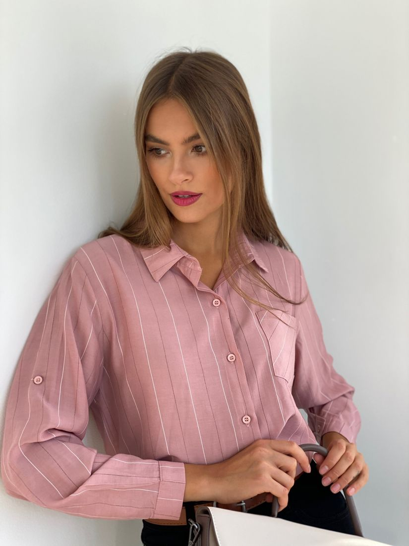 s2650 Рубашка классическая пудровая в тонкую полоску