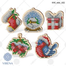 Virena КНІ_МІНІ_102 Комплект фигурок новогодних из дерева для вышивки бисером купить оптом в магазине Золотая Игла
