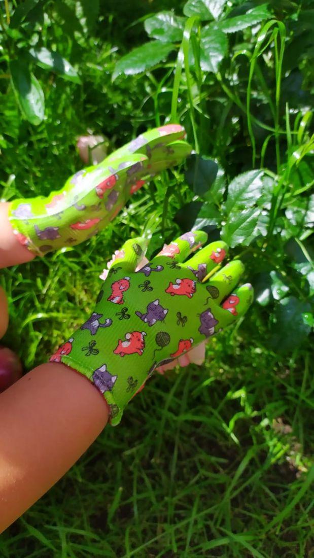Перчатки детские садовые ПУШИСТИКИ, с нитриловым покрытием, размер 4