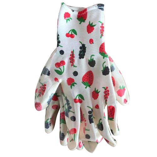 Перчатки садовые ЯГОДЫ, с нитриловым покрытием, размер 8