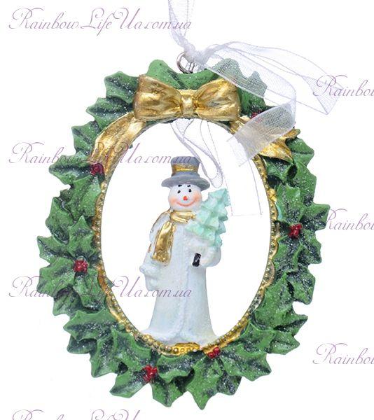 """Подвеска новогодняя """"Снеговик с елкой"""""""