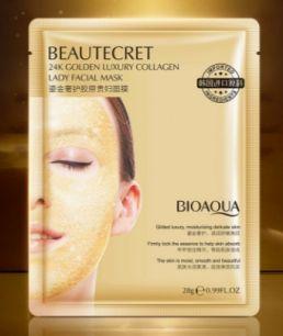 Увлажняющая гидрогелевая коллагеновая маска для лица с частичками золота от  «BIOAQUA».(90522)