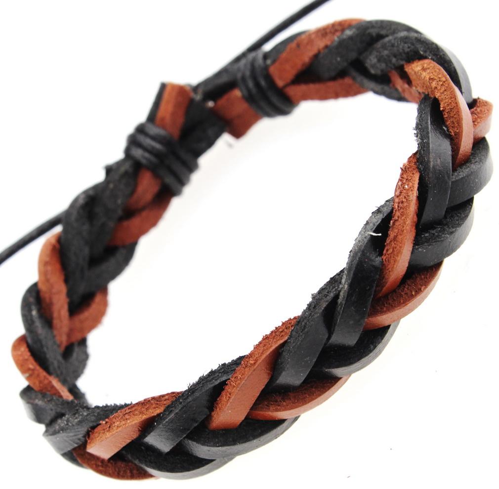 Двухцветный плетёный браслет из натуральной кожи