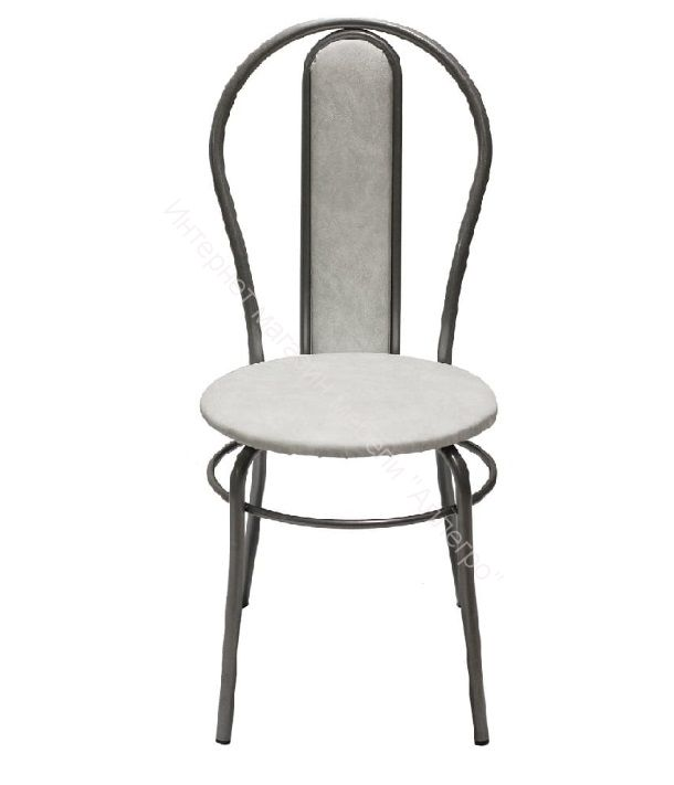 "Кухонный стул ""Элегия мягкий"" белый мрамор/серебристый металлик"