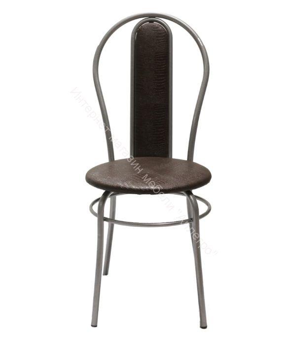 """Кухонный стул """"Элегия мягкий"""" шоколадная рептилия/серебристый металлик"""