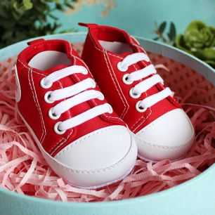 Кеды на шнурках красные 11 см