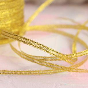 Лента металлизированная для творчества Золотая 3 мм