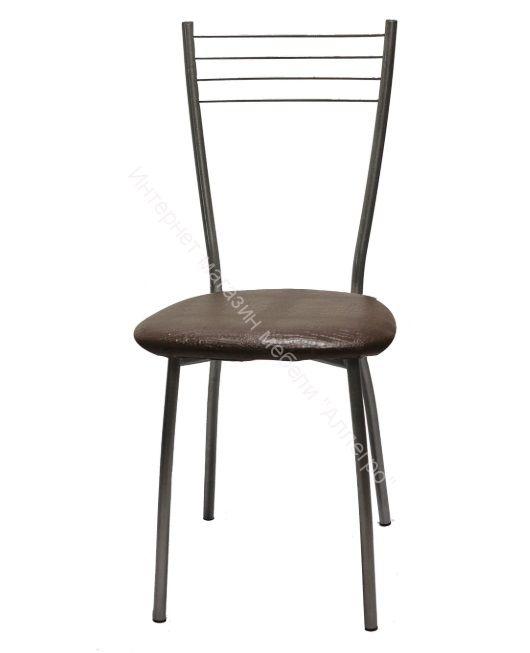 """Кухонный стул """"Сильвия"""" шоколадная рептилия/серебристый металлик"""