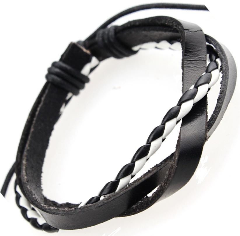 Кожаный браслет комбинированный
