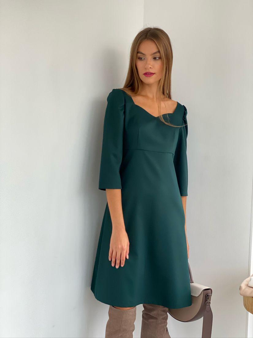 s2672 Платье в стиле ретро с фигурным вырезом изумрудное