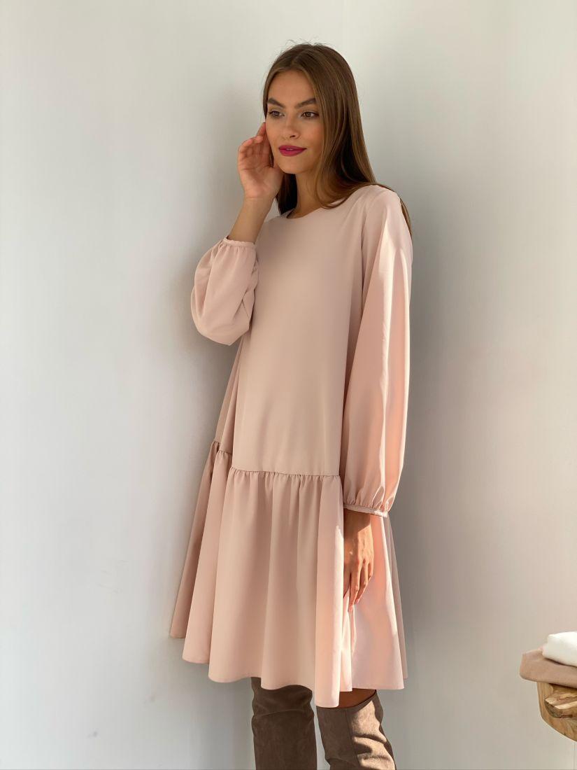 s2673 Платье свободного силуэта с воланом