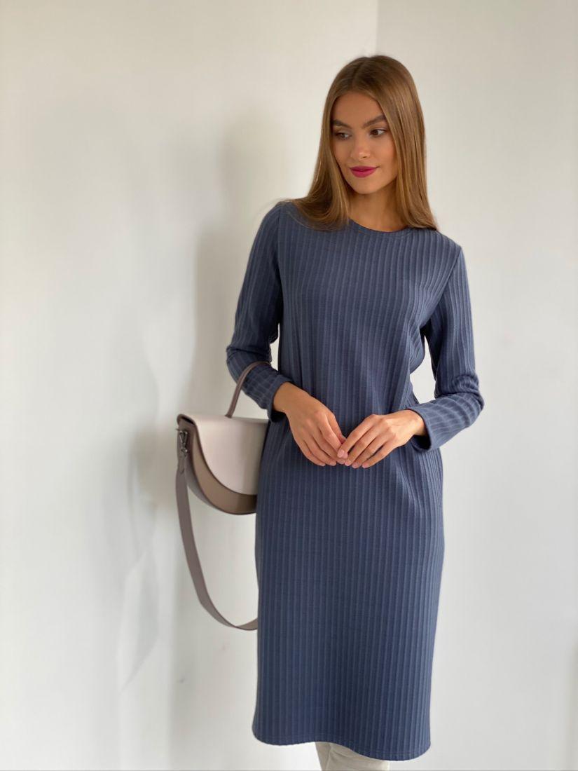 s2674 Базовое платье трикотажное серо-голубое