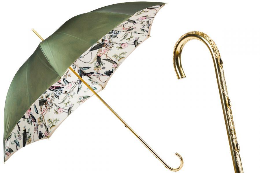 Зонт-трость Pasotti Oliva Foresta Penna Oro