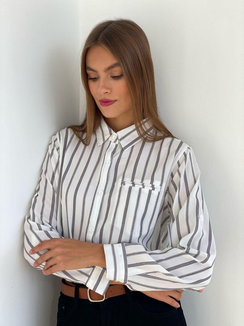 s2680 Рубашка белая в чёрную полоску