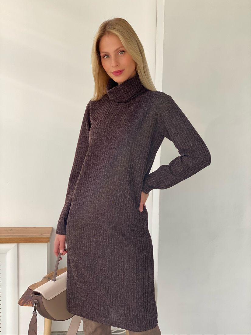 s2690 Платье из плотного трикотажа серо-лиловое