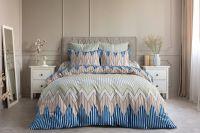 Бязь семейный [синий] Зигзаг постельное белье