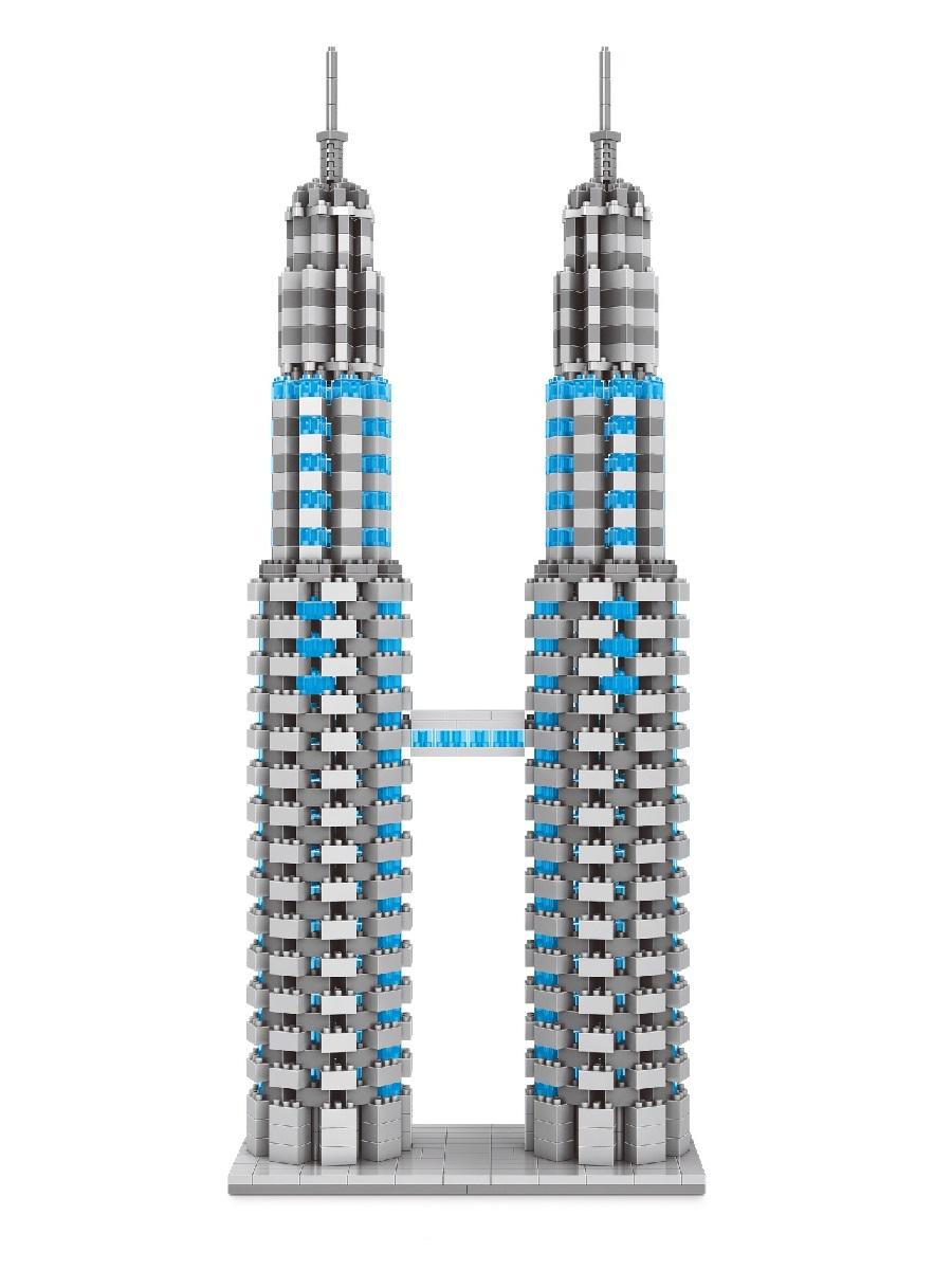 Конструктор Wisehawk & LNO Башни Петронас Куала-Лумпур 1247 деталей NO. 2464 Petronas Twin Towers Gift Series