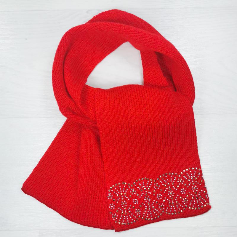 ш1005-23 Шарф детский со стразами Солнце красный