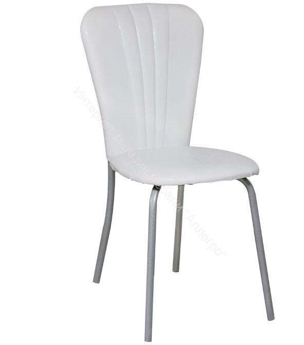 """Кухонный стул """"Кафе 2"""" белая рептилия/серебристый металлик"""