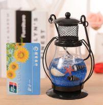 Гелевая свеча Чёрная Керосиновая Лампа, 13 см., синий