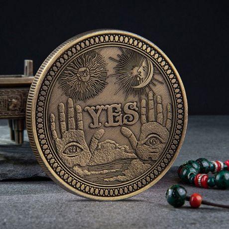 Монета сувенирная YES - NO 40х3мм, цвет бронз.