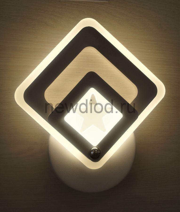 Светильник настенный управляемый VIVA SENSOR 161 13W 4000K 200*200mm белый Oreol