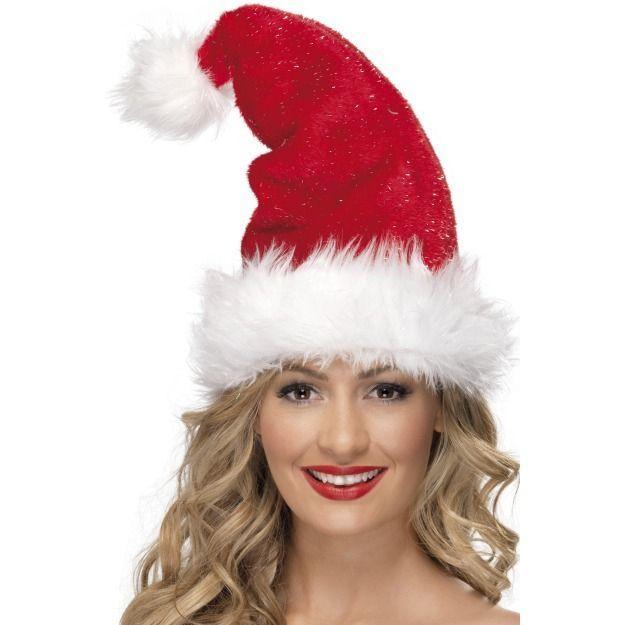 Женская шляпа Санты с блестками