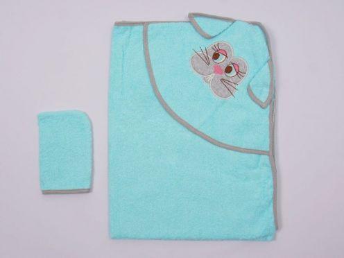 Купальное полотенце с уголком махра 2V-KM002-MA /вышивка заяц/ бирюза