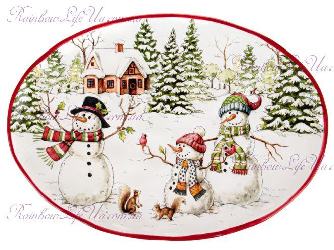 """Блюдо новогоднее овальное """"Снеговики"""""""