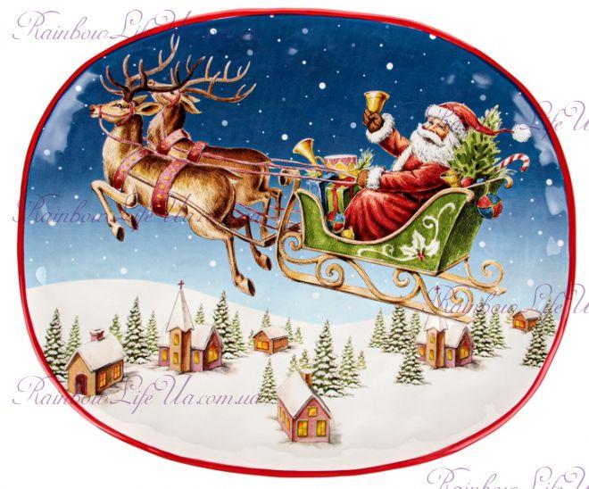"Блюдо овальное новогоднее ""Санта на санях"""