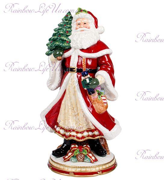 """Фигурка новогодняя """"Санта с елкой на подставке"""""""