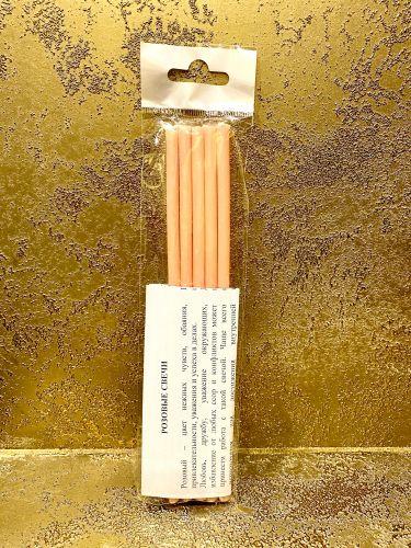 Свеча восковая #80 розовая, 18 см, (уп. 5 шт.)