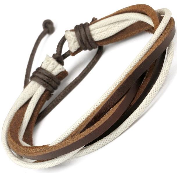Кожаный браслет с белыми тканными шнурами