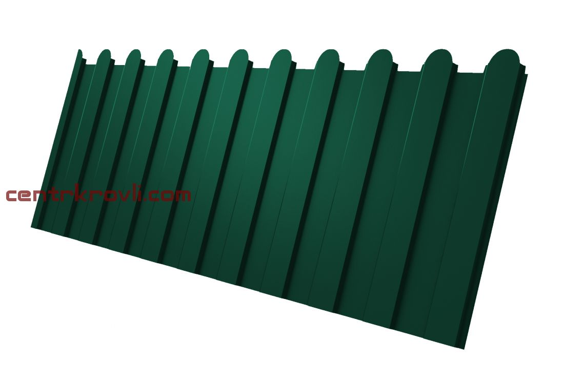 Профнастил С8А фигурный 0,4 PE RAL 6005 зеленый мох 2м