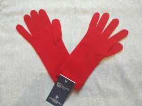 Кашемировые вязаные перчатки для Леди удлиненные с короткой манжетой (100% драгоценный кашемир), цвет Алый. CASHMERE SHORT CUFF GLOVES CLASSIC RED