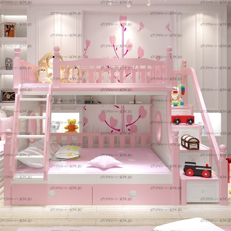 Кровать двухъярусная домик Принцесса Fantasy №IR10
