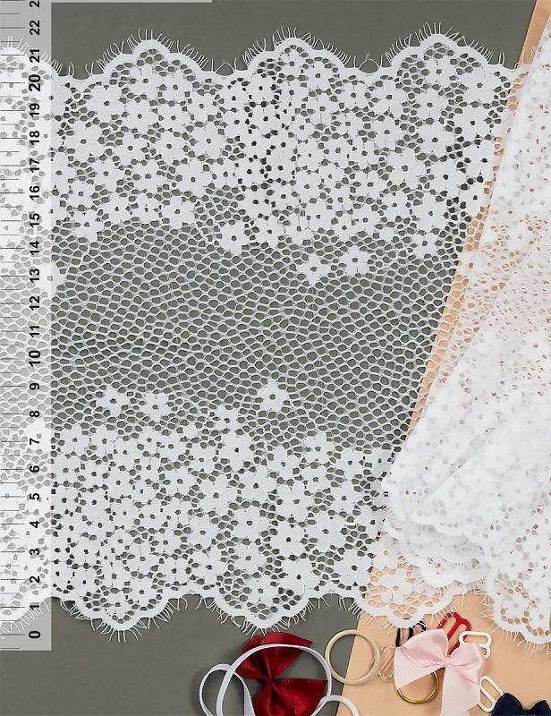 Кружево Шантильи (реснички) эластичное стрейч, 220 мм. (TBY 75226)