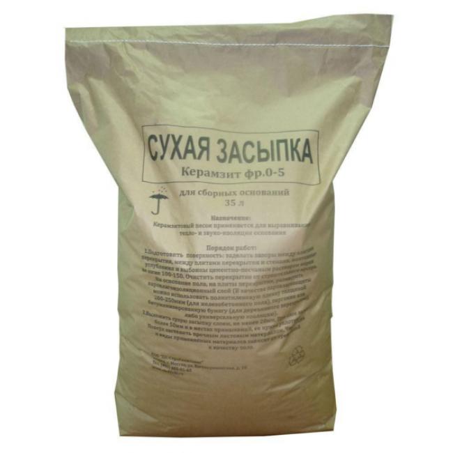 Сухая керамзитовая засыпка 0-5мм мешок 0,04м3